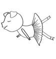 cartoon pig ballet dancer coloring vector image