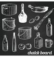 Chalk restaurant and kitchen related symbols vector image