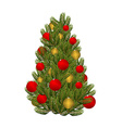 Christmas tree and toys Decorated Christmas tree vector image