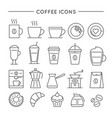 coffee icon set in thin line style vector image