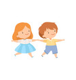 cute happy boy and girl holding hands couple of vector image vector image