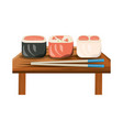 delicious sushi food vector image