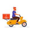delivery man riding a yellow scooter vector image