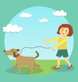 dog walking girl kid vector image vector image