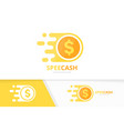 fast coin logo combination speed money vector image vector image