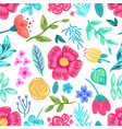 flower and leaves drawn in pencil seamless pattern vector image vector image