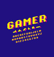 gamer font 3d stylized pixel style alphabet vector image