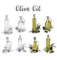 glassware bottles with olive oil sketches vector image vector image