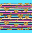 gold glittering heart confetti seamless pattern vector image vector image