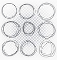 hand drawn line sketched circles set scribble vector image vector image