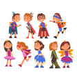 happy girls and boys dressed as fairytale heroes vector image vector image