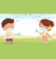 happy young couple wear face mask enjoy songkran vector image