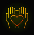 heart in hands bright thin line icon vector image vector image