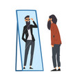 hipster man standing in front mirror looking at vector image vector image