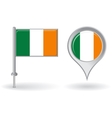 Irish pin icon and map pointer flag vector image