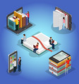 isometric books reading composition vector image