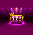 king slots 777 banner casino on purple vector image vector image