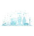 macau skyline china line art vector image vector image
