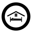 man in bed hotel icon black color in circle vector image vector image