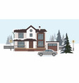 modern cottage with gray car wintertime vector image