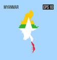 myanmar map border with flag eps10 vector image