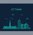 ottawa city skyline ontario canada linear vector image