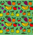 pattern of fruits and berries vector image vector image