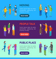 people characters banner horizontal set isometric vector image vector image
