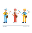 plumber character figures in 3 colors vector image