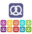 pretzel icons set vector image vector image