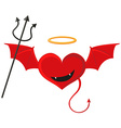 Red heart with devil wings vector image vector image