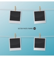 Retro Photo Frames on a Rope with clothespins for vector image