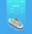 sea cruise booking mobile app design vector image vector image