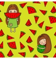 Seamless pattern of watermelons and little girls vector image