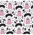 seamless pattern with sheep girl and flower vector image vector image