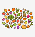 set colorful cartoon fruit food vector image