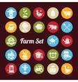 set farm agriculture flat design icons vector image