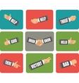 set hand gestures vector image vector image