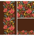 Set of autumn flowers seamless pattern and borders vector image vector image