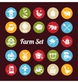 set of farm agriculture flat design icons vector image