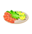 Shrimps with Salad and Lemon on a Plate vector image