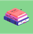 smiling cute stack colored books habituate kid vector image vector image