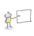 stick figure showing something on a blank board vector image vector image