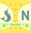 the english alphabet with narwhal vector image