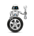 The robot with a car wheel and a spanner vector image vector image