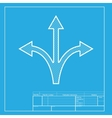 Three-way direction arrow sign White section of vector image vector image