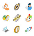 timeline icons set isometric style vector image vector image
