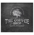 Vintage Coffee Shop Typographic Element on Chalkbo vector image vector image