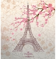 Vintage of Eiffel tower on grunge background vector image vector image