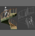 walking up stairs vector image